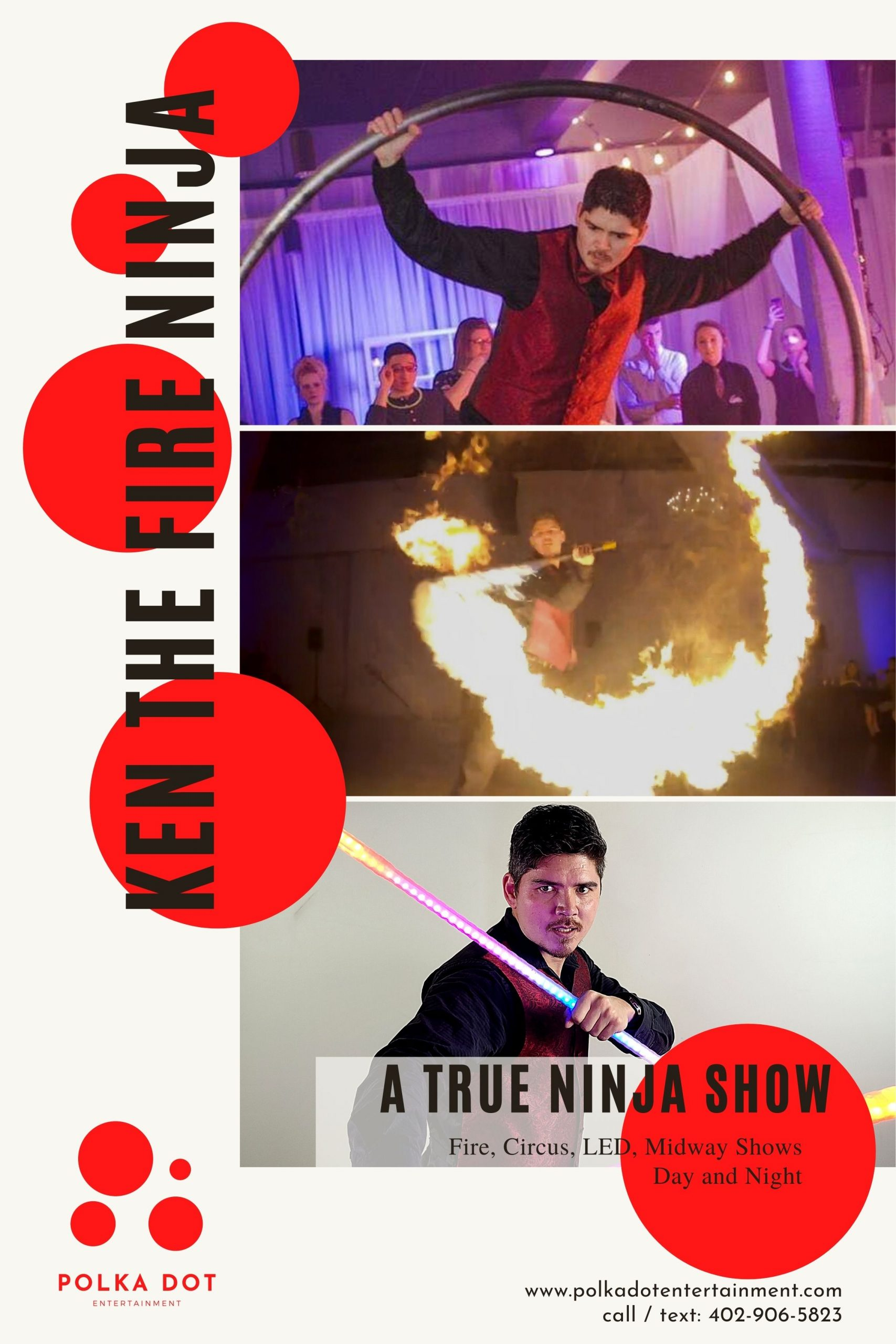 Ken the Fire Ninja combines circus, martial arts, fire and LED