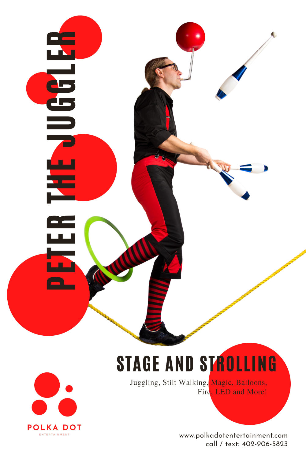 Peter combines juggling with comedy and danger stunts